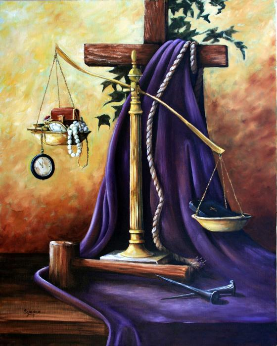 Scales & Cross & Purple Robe & Bible outwights everything
