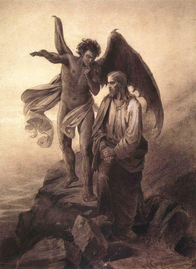 Satan tempting Christ