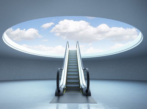 Escalator stairway to success. Blue sky. 3d render