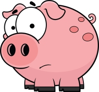Cartoon illustration of a worried little pig.